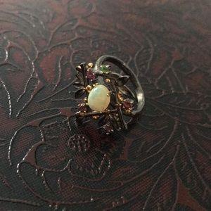 Sterling 925 opal ruby peridot ring size 8